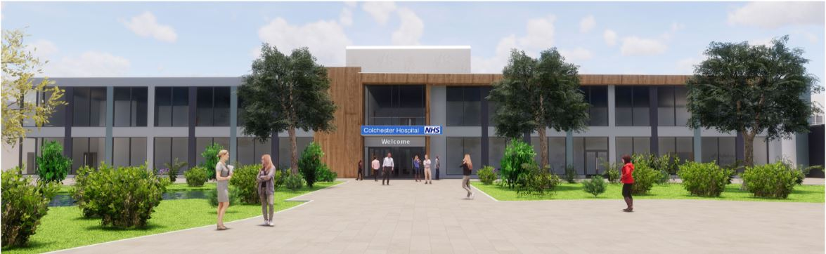 Artist's impression of the new front entrance at Colchester Hospital