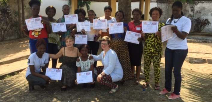 Photograph of Helen Smith Ruth Keen with the Liberian midwives they trained