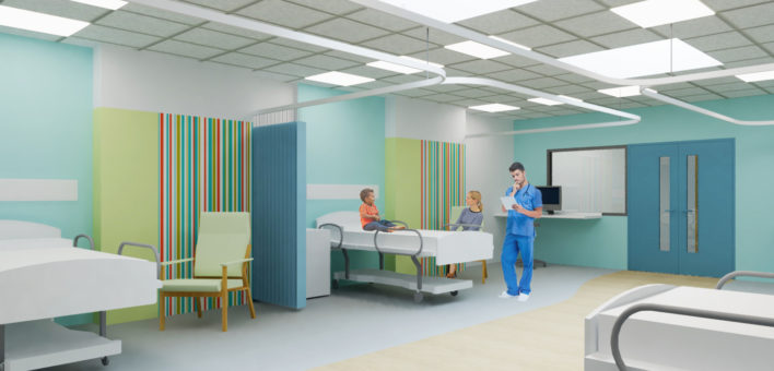 Architect's impression of a ward on the proposed new Children's Department