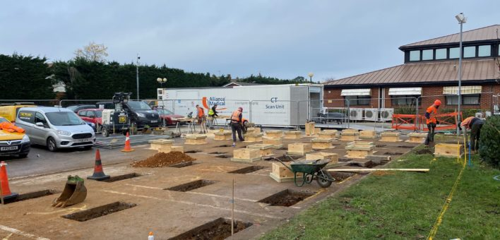 Photograph of construction work in a car park at Ipswich Hospital