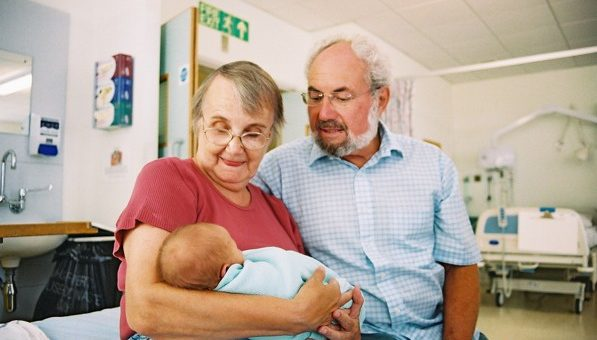Jacky and John Hall meeting their grandson in Colchester Hospital 16 years ago